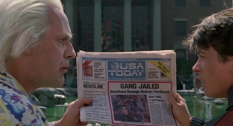 USA Today Newspapers in Back to the Future Part II (1989) Movie Product Placement