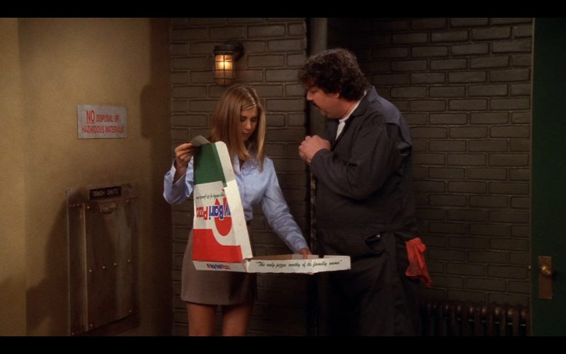 Ray Bari Pizza Held by Jennifer Aniston (Rachel Green) in Friends - TV Show Product Placement
