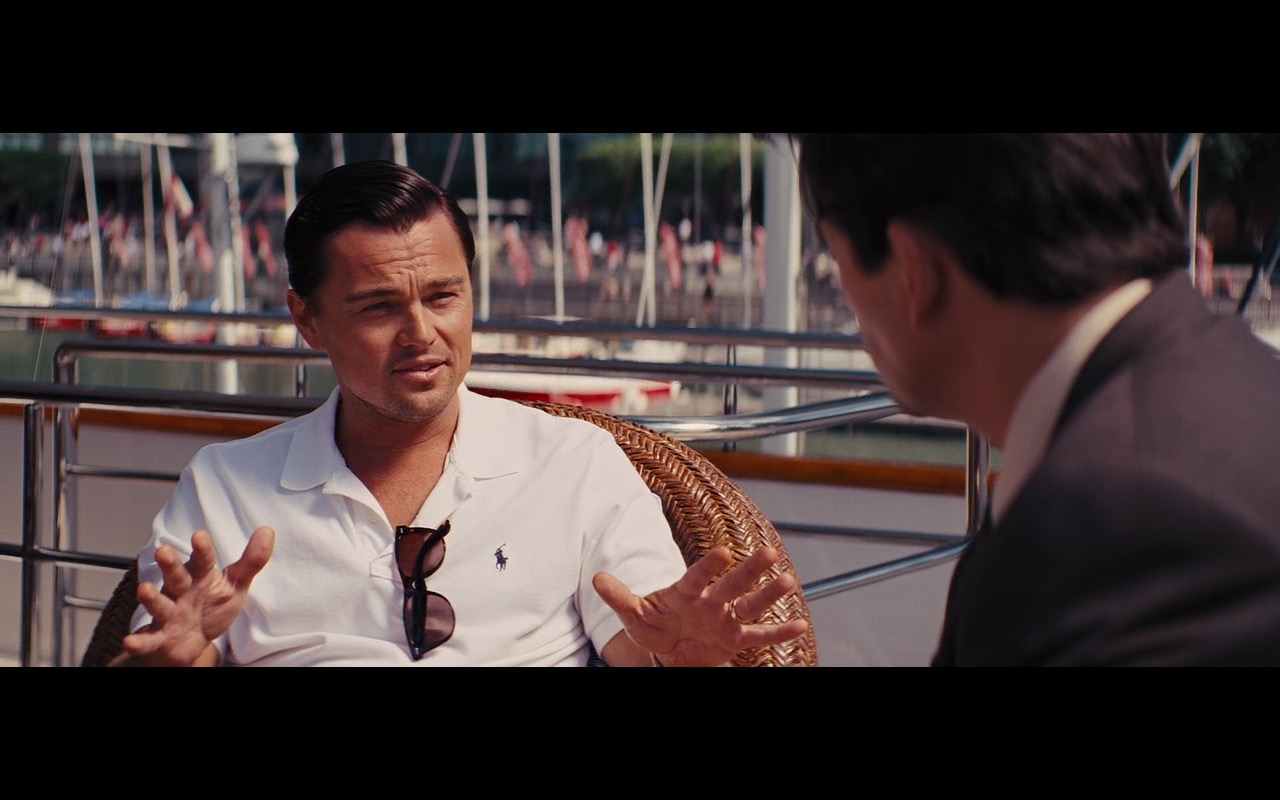Ralph Lauren White Polo Shirt Worn by Leonardo DiCaprio in The Wolf of Wall Street (2013) - Movie Product Placement