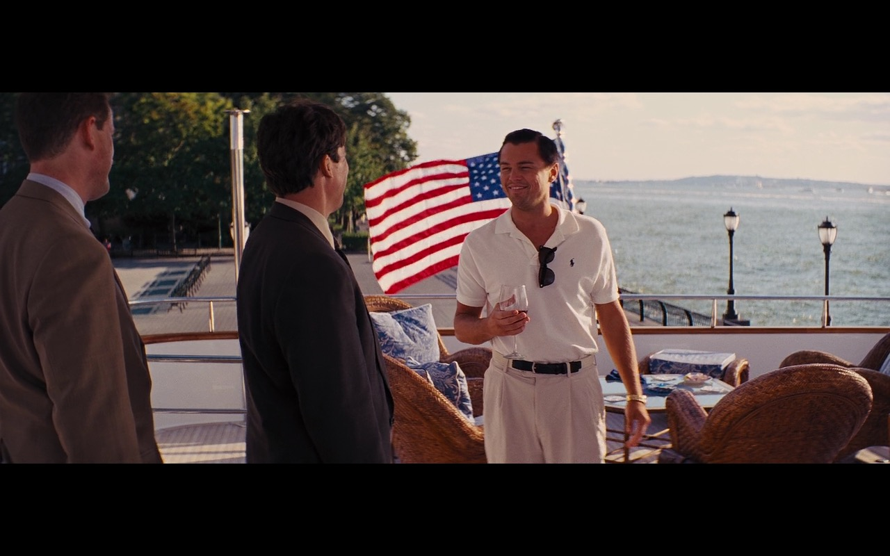 Ralph Lauren White Polo Shirt Worn by Leonardo DiCaprio in The Wolf of Wall Street (2013) Movie Product Placement