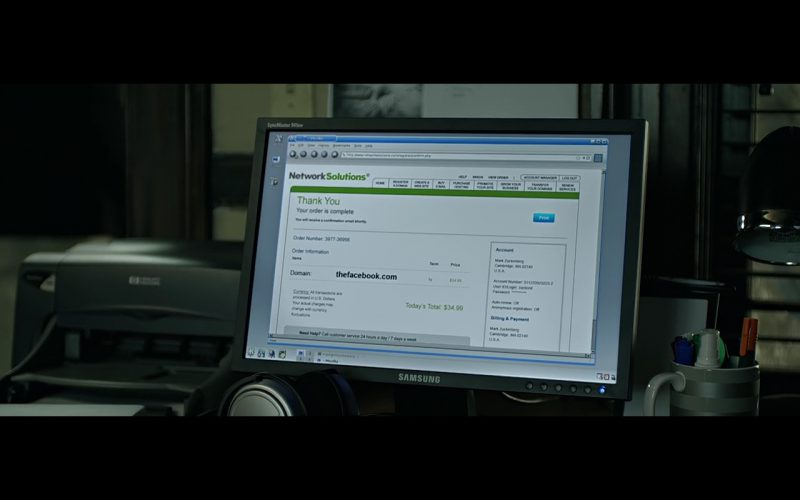 Samsung SyncMaster Monitor – The Social Network (2010) Movie Product Placement