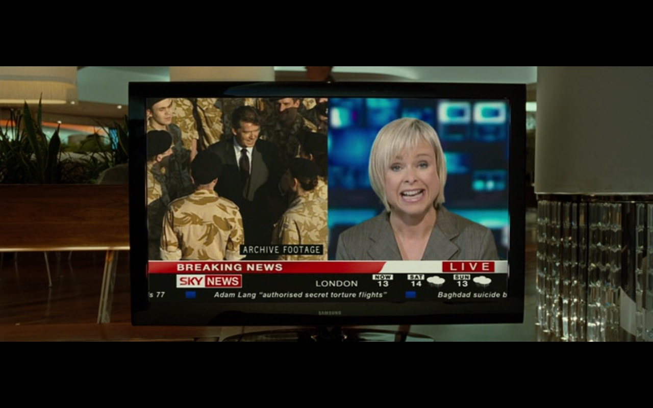 Samsung TV and Sky News – The Ghost Writer (2010) - Movie Product Placement