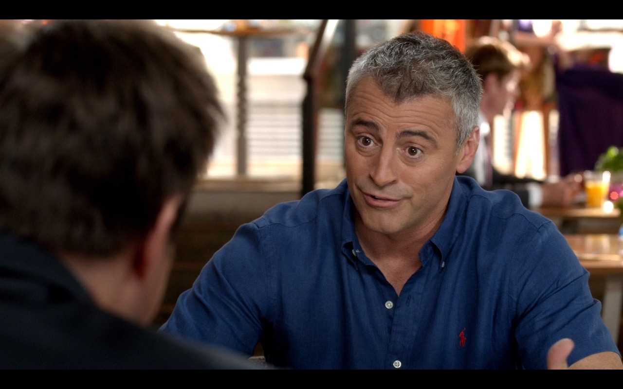 Ralph Lauren Blue Polo Shirt and Red Logo Worn by Matt LeBlanc in Episodes (S4E8) - TV Show Product Placement