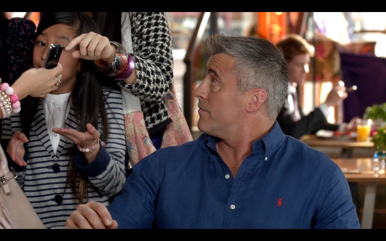 Ralph Lauren Blue Polo Shirt and Red Logo Worn by Matt LeBlanc in Episodes (S4E8) TV Show Product Placement