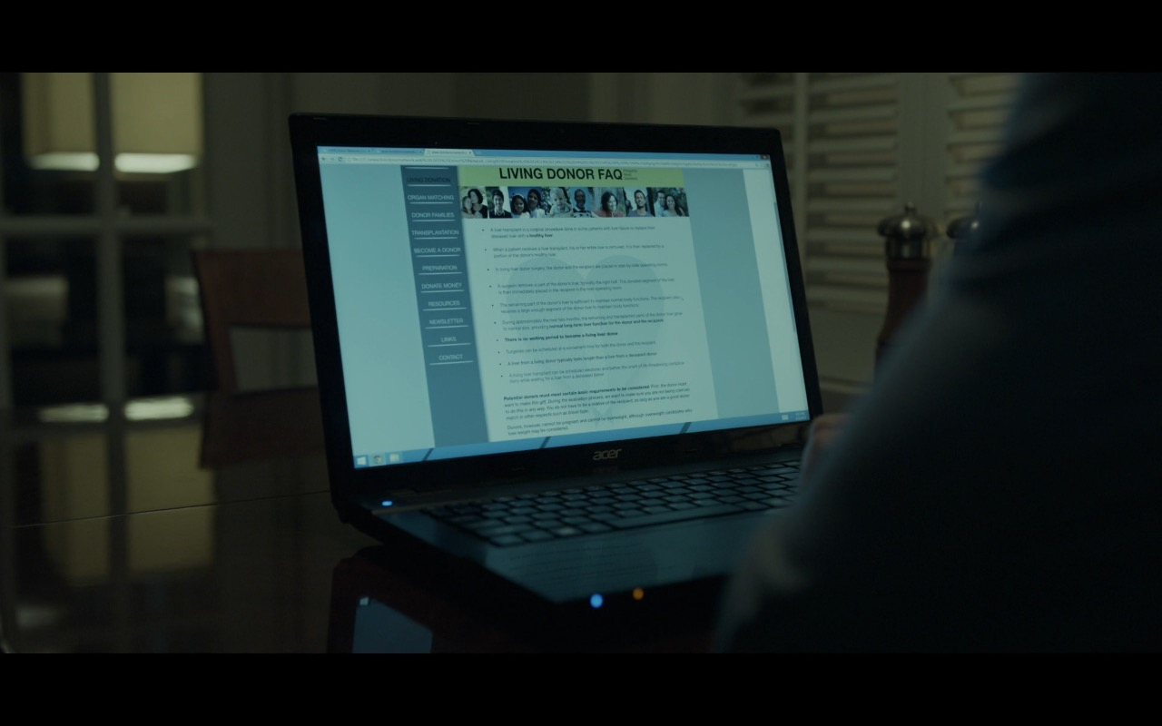 Acer Notebook - House Of Cards TV Show Product Placement