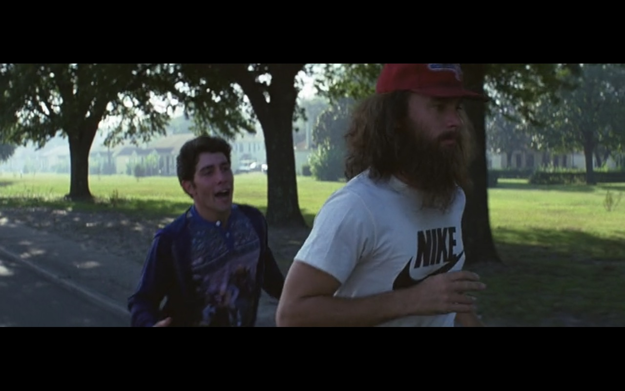 Nike T-Shirt Worn by Tom Hanks in Forrest Gump (1994) - Movie Product Placement