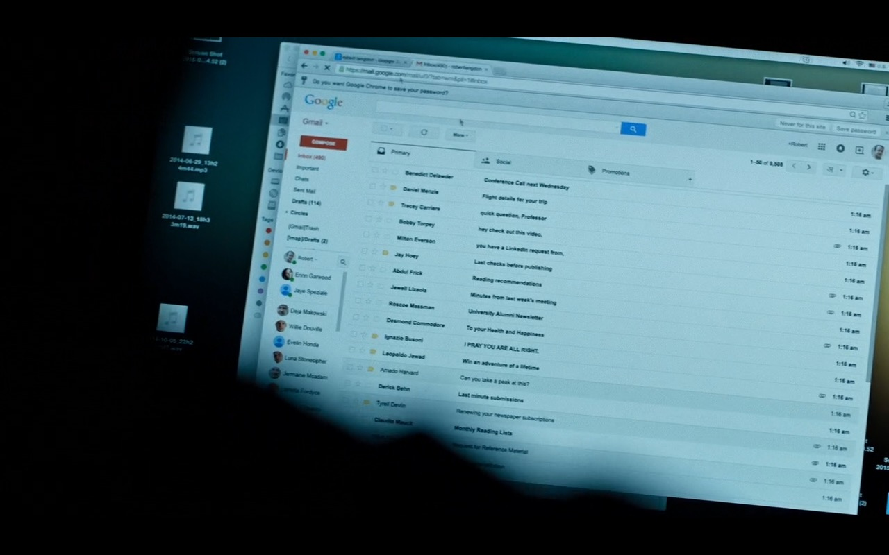 Gmail (Google e-mail) – Inferno (2016) Movie Product Placement