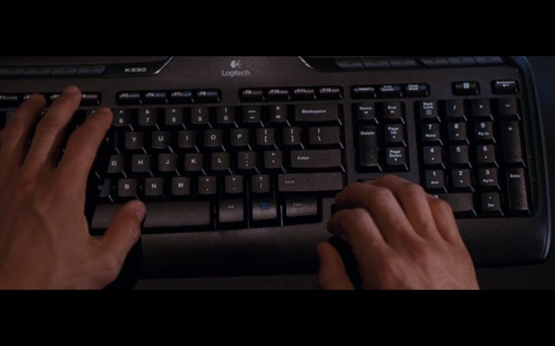 Logitech Computer Keyboard - The Accountant (2016) Movie Product Placement