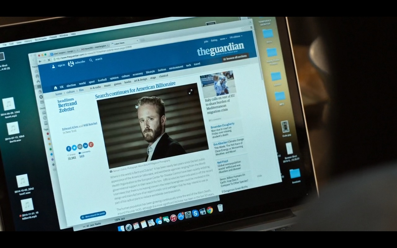 The Guardian – Inferno (2016) Movie Product Placement