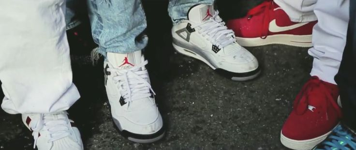 Air Jordan IV White Cement shoes, Nike shoes and Adidas Shell Toe shoes in MAAN! WEEDMIX by Wiz Khalifa (2014) Official Music Video Product Placement