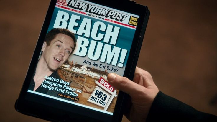 Apple iPad tablet and New York Post app in BILLIONS: PILOT (2016) TV Show Product Placement