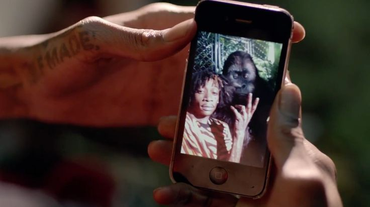 Apple iPhone 4 mobile phone used by Wiz Khalifa in STAYIN OUT ALL NIGHT (2014) Official Music Video Product Placement