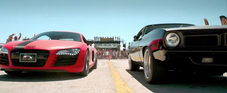 Audi R8 (2008) and Plymouth Barracuda (1972) cars in FURIOUS 7 (2015) - Movie Product Placement