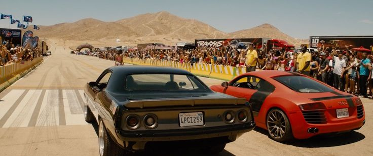 Audi R8 (2011) and Plymouth Barracuda (1972) cars in FURIOUS 7 (2015) - Movie Product Placement