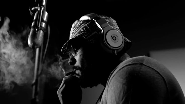 Beats by Dre Pro headphones and Milkcrate Athletics Oxymoron bucket hat worn by SchoolBoy Q and RCA Type 77-DX microphone used by SchoolBoy Q in STUDIO by SchoolBoy Q (2014) - Official Music Video Product Placement
