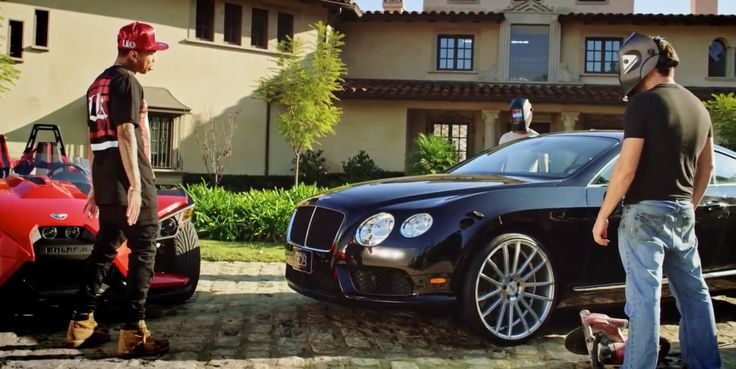 Bentley Continental GT (2012) car in AYO by Chris Brown (2015) Official Music Video Product Placement
