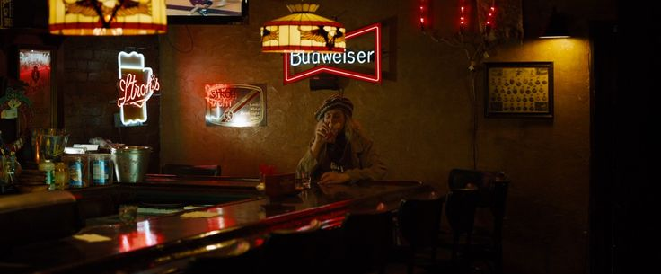 Budweiser neon sign in THE DROP (2014) - Movie Product Placement