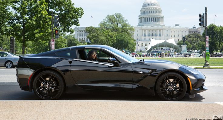Chevrolet Corvette Stingray C7 driven by Scarlett Johansson in CAPTAIN AMERICA: THE WINTER SOLDIER (2014) Movie Product Placement