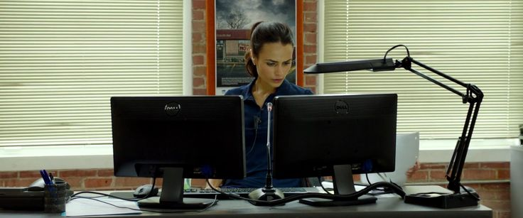 Dell monitors used by Jordana Brewster in AMERICAN HEIST (2014) - Movie Product Placement