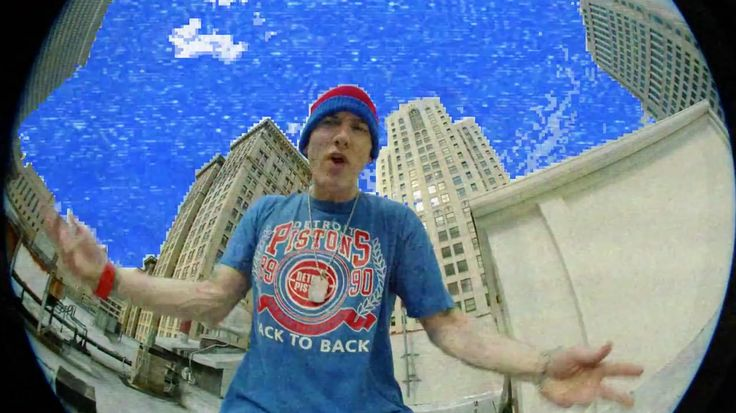 Detroit Pistons t-shirt worn by Eminem in BERZERK (2013) - Official Music Video Product Placement