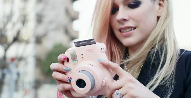 Fujifilm Instax Mini 8 camera used by Avril Lavigne in HELLO KITTY (2014) Official Music Video Product Placement