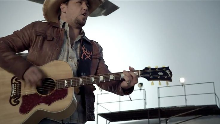 Gibson acoustic guitar played by Jason Aldean in FLY OVER STATES (2010) Official Music Video Product Placement