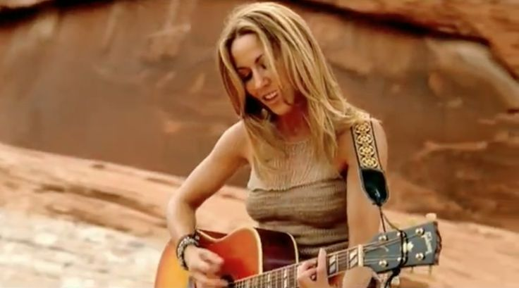 Gibson acoustic guitar played by Sheryl Crow in THE FIRST CUT IS THE DEEPEST (2010) Official Music Video Product Placement