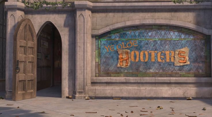 Hooters restaurant in SHREK THE THIRD (2007) Animation Movie Product Placement