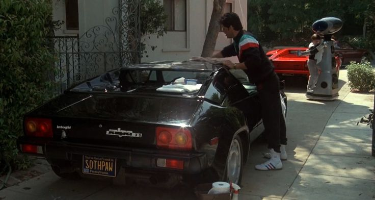 Lamborghini Jalpa (1984) and Lamborghini Countach LP 500 S (1982) cars and Adidas shoes worn by Sylvester Stallone in ROCKY IV (1985) Movie Product Placement