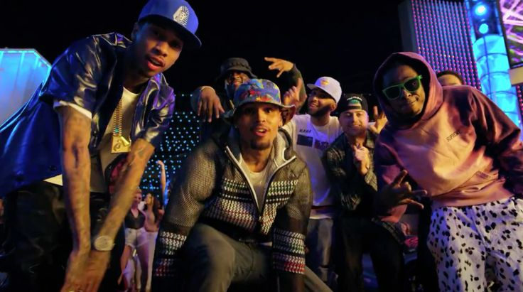 Last Kings cap worn by Tyga and Supreme hoodie worn by Lil Wayne in LOYAL by Chris Brown (2014) Official Music Video Product Placement