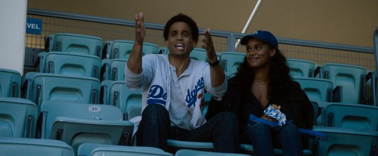 Los Angeles Dodgers jersey worn by Michael Ealy and Los Angeles Dodgers cap worn Joy Bryant in ABOUT LAST NIGHT (2014) - Movie Product Placement