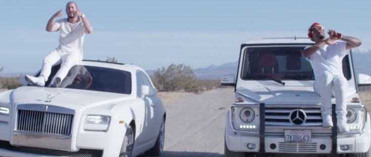 Mercedes-Benz G-Class [W463] and Rolls-Royce Ghost cars in WHITE IVERSON by Post Malone (2015) Official Music Video Product Placement