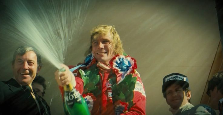 Moët & Chandon champagne held by James Hunt in RUSH (2013) Movie