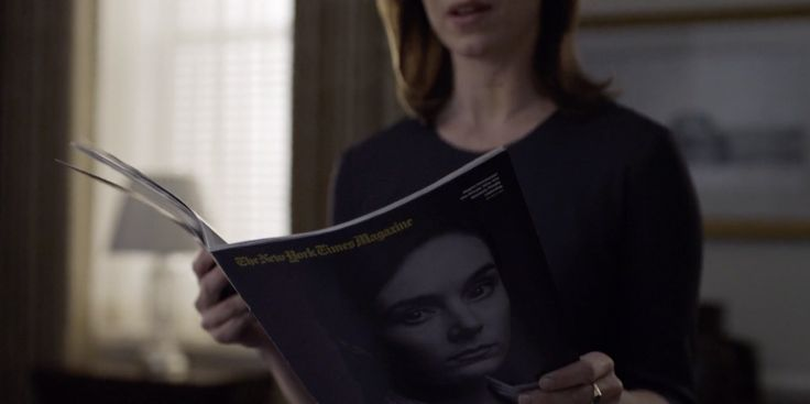 New York Times magazine read by Molly Parker in HOUSE OF CARDS: CHAPTER 25 (2014) TV Show Product Placement