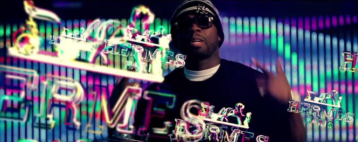 Hermes Logotypes, New York Yankees knitted hat and Hermès t-shirt in DON'T WORRY 'BOUT IT by 50 Cent (2014) - Official Music Video Product Placement