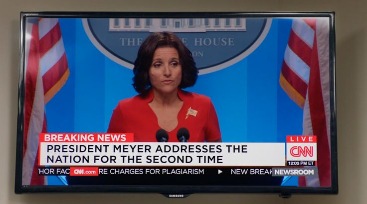 Samsung TV and CNN TV channel in VEEP: THE MORNING AFTER (2016) - TV Show Product Placement