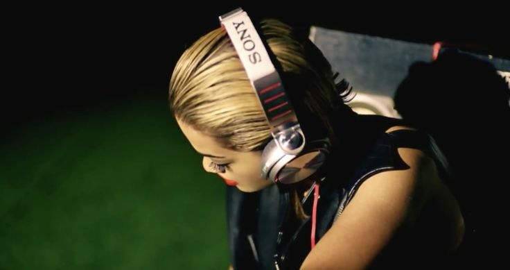 Sony headphones worn by Rita Ora in SHINE YA LIGHT (2012) Official Music Video Product Placement