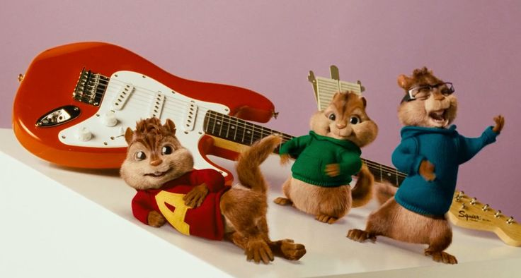 Squier Affinity Mini Strat Torino electric guitar in ALVIN AND THE CHIPMUNKS (2007) Animation Movie Product Placement