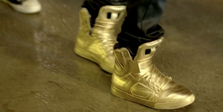 Supra Gold Skytop shoes worn by Justin Bieber in BOYFRIEND (2012) Official Music Video Product Placement