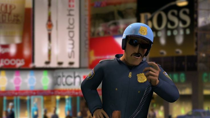 Swatch and Hugo Boss billboards in Madagascar (2005) Animation Movie Product Placement