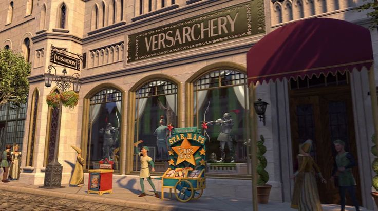 "Versace ""Versachery"" store in SHREK 2 (2004) Animation Movie Product Placement"