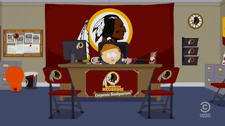 Washington Redskins office in SOUTH PARK: GO FUND YOURSELF (2014) Animation Movie Product Placement