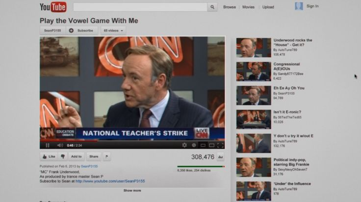 Youtube website and CNN TV channel in HOUSE OF CARDS: CHAPTER 6 (2013) TV Show Product Placement