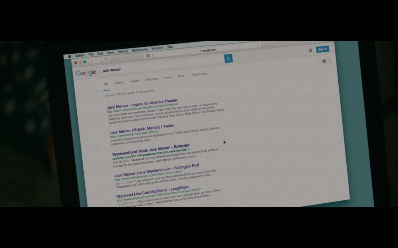 Safari And Google WEB Search  – Don't Think Twice (2016) Movie Product Placement