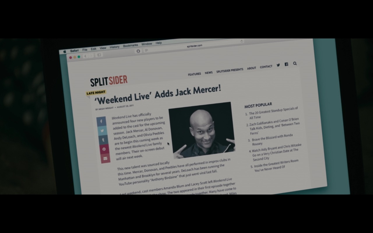 Safari And Splitsider.com Website – Don't Think Twice (2016) Movie Product Placement