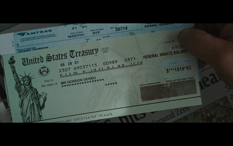 Amtrak Ticket – Wall Street Money Never Sleeps (2010)