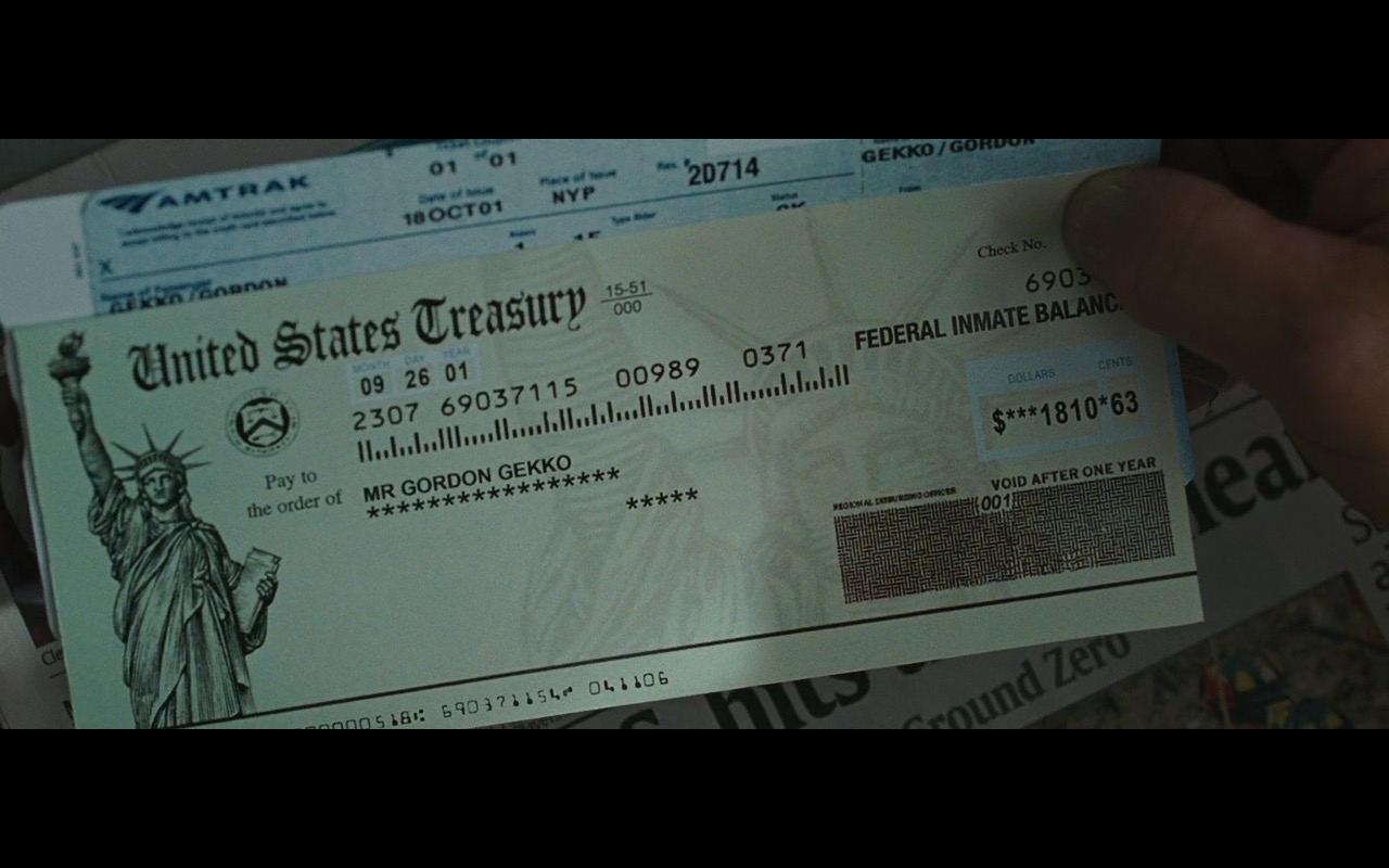 Amtrak Ticket – Wall Street: Money Never Sleeps (2010) Movie Product Placement