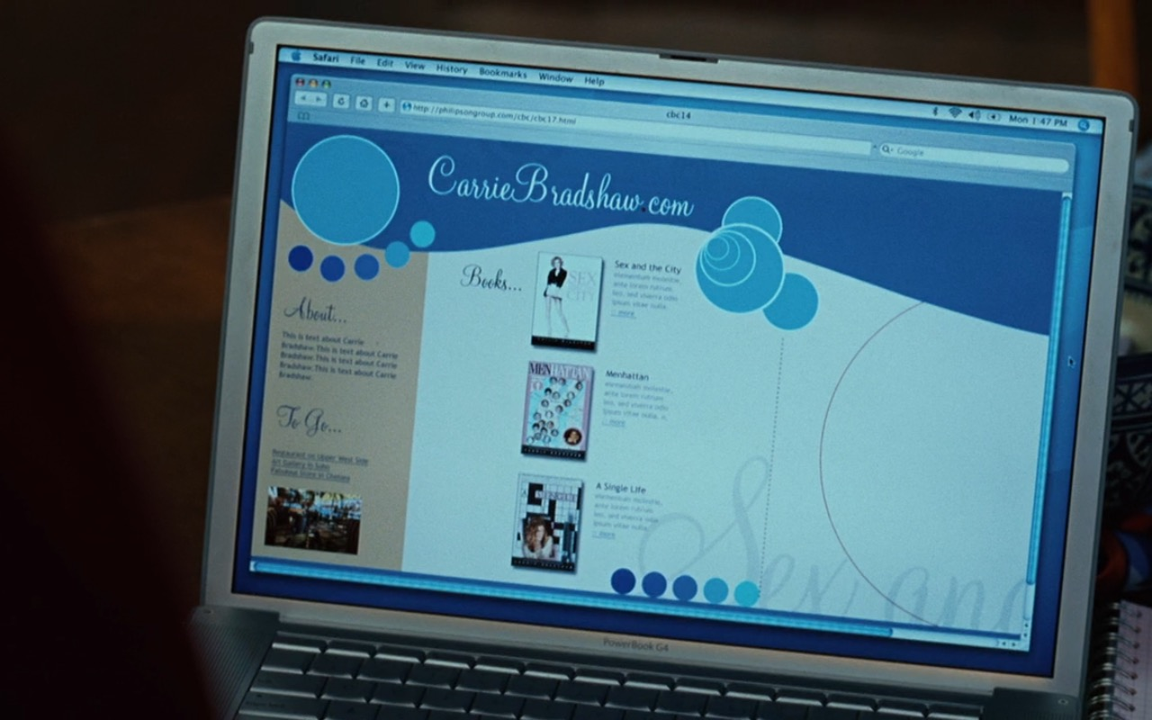 Apple laptop used by Jennifer Hudson - Sex and the City (2008) Movie Product Placement