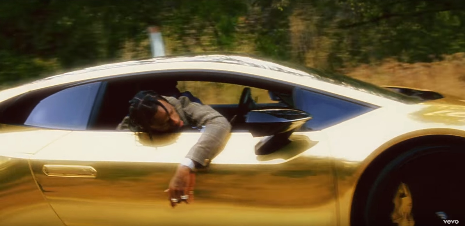 Gold Lamborghini Huracán - Travis Scott - Butterfly Effect Official Music Video Product Placement