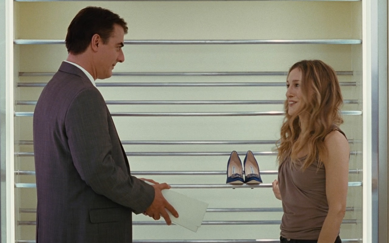 Manolo Blahnik Hangisi 105 Satin Pumps - Sex and the City (2008) Movie Product Placement